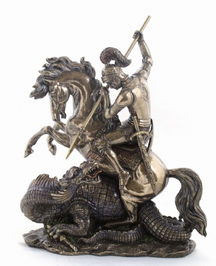 St George & Dragon Statue On Base